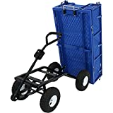 Sunnydaze Heavy-Duty Dumping Utility Cart with Folding Sides and Liner Set, 660 Pound Weight Capacity, Blue