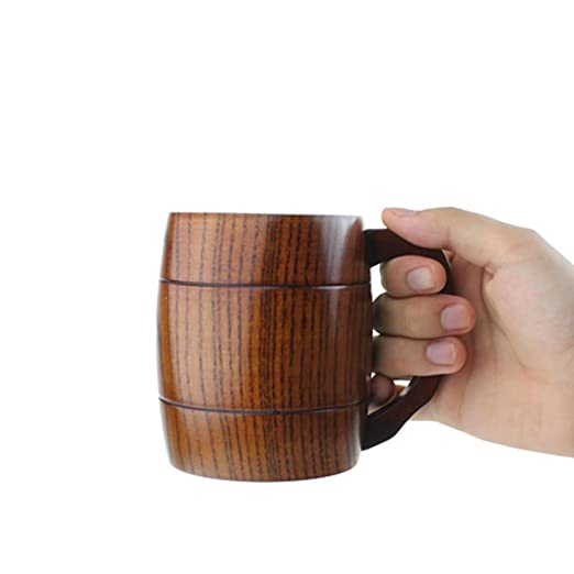 Segolike 400ml Rustic Beer Mug Wooden Beer Mug Wedding Groomsmen Gift Handmade Mug Cups, Mugs & Saucers at amazon