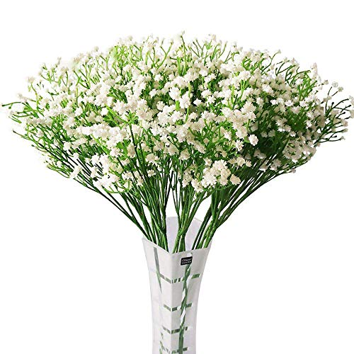 HANTAJANSS Artificial Baby Breath, Fake Gypsophila Flowers 12 pcs Bouquets Fake Real Touch Flowers for Wedding Party Decoration DIY Home Decor 21