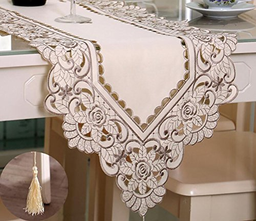 Round Satin Embroidered Pillow - PlayDo Embroidered Floral Table Runner Unique Wedding Dinning Room Tablecloth Flower Cutwork Fabric Satin Table Linens,16