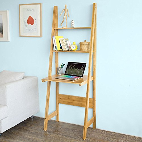 SoBuy FRG60-B-N, Bamboo 5 Tiers Ladder Bookcase, Storage Dis