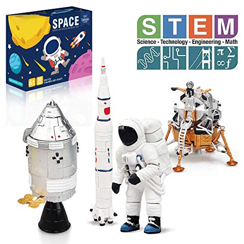 Lehoo Castle Building Toys for 5-8 Year Old, Lunar Space Station Space Shuttle Building Kit Including Astronaut, Rocket, Space Capsule and Lunar Lander, Educational Toys for Boys and Girls, New 2019 (Space Shuttle Building Kit)