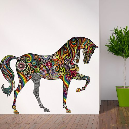 MyWonderfulWalls Beautiful Horse Decal Sticker Wall Mural for Girls Room, Right-Facing, Large, Multicolored (Right Large Mural)