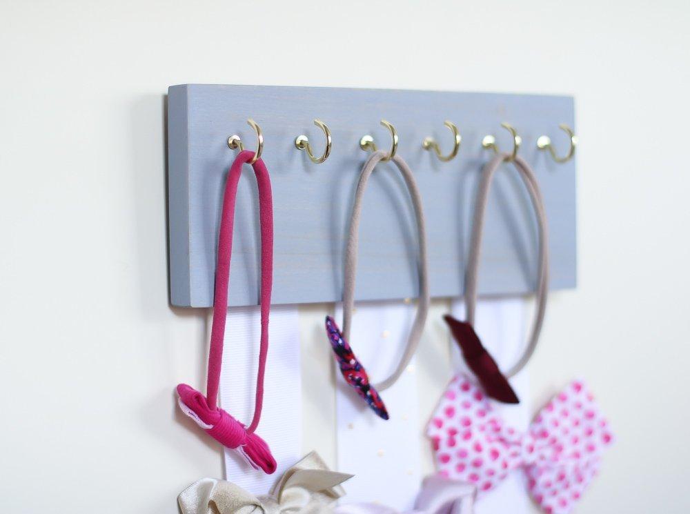 Gray Wood Ribbon Bow Organizer & Headband Holder / Poplar Plaque Hooks / Organizer Handmade / High Quality / Nursery Girls Room Decor / (gray wood white ribbon) by Wood Decor with Love