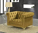 Iconic Home FCC2608-AN Gold/COGNAC Gold Bea Velvet with Nail head Trim Tone Metal Club Chair
