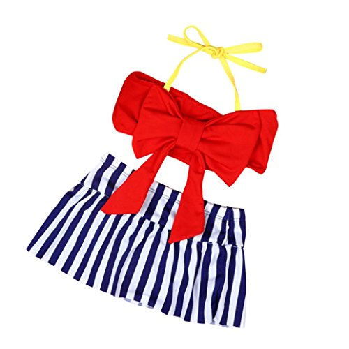Mounter Maillots de Bain Filles, 2PC Enfants [Split] Big Bow Solid Top bikini + [Stripe] Swim Short Ensemble 12Mois-3Ans