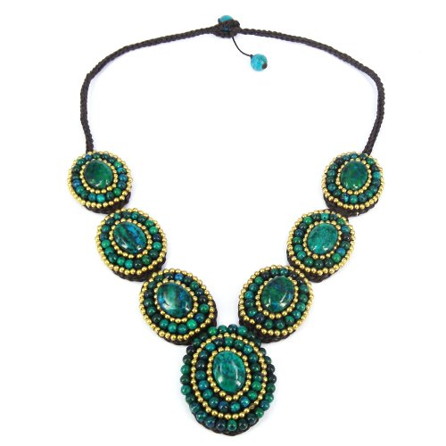 AeraVida Mosaic Tribal Circles Reconstructed Malachite-Brass Beading On Cotton Wax Rope Statement Toggle Necklace