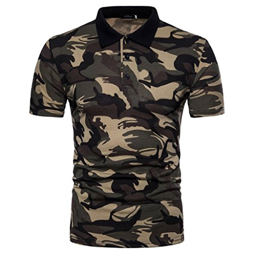 HGWXX7 Men's Casual Camouflage Print Turn-Down Collar Short Sleeve T-Shirt Top Blouse Polo Shirt (L, Yellow) ()