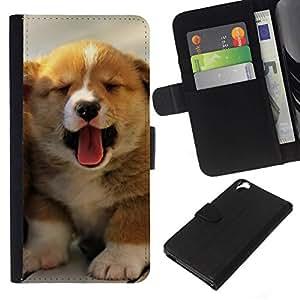 All Phone Most Case / Oferta Especial Cáscara Funda de cuero Monedero Cubierta de proteccion Caso / Wallet Case for HTC Desire 820 // Puppy Yawn Tongue Australian Shepherd
