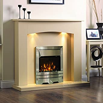 electric cream ivory silver led flame fire wall surround fireplace suite lights large big. Black Bedroom Furniture Sets. Home Design Ideas