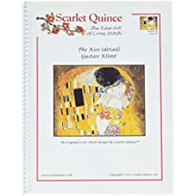 Scarlet Quince KLI001-Dlg The Kiss (detail) by Gustav Klimt Counted Cross Stitch Chart, Large Size Symbols