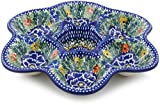 Polish Pottery 8¼-inch Egg Plate made by Ceramika Artystyczna (Dancing Pansies Theme) Signature UNIKAT + Certificate of Authenticity