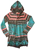 Self Esteem Women's Open Front Hooded Knit Cardigan (Small, Turquoise/Pink/Brown)