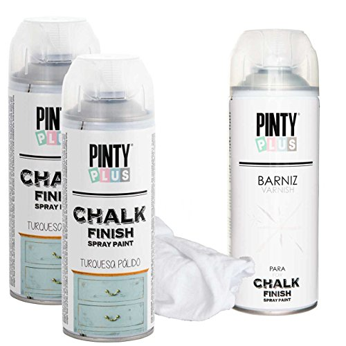 Chalk Finish Spray Paint Kit, Water Based Paint, One Coat Coverage, Kit contains 2 Chalk Colors, plus 1 Can Varnish & Cleaning Cloths (Pale Turquoise)