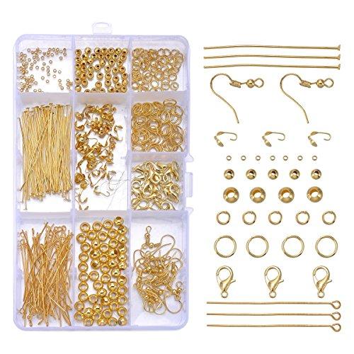 HooAMI 10種類 カニカン 丸カン ビーズ 9ピン Tピン フック ピアスパーツ 留め具 ゴールド アクセサリーパーツ 手芸材料 ハンドメイド 箱入り 1セット 490個
