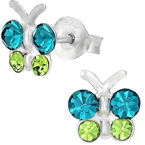 Sterling Hypoallergenic Crystal Butterfly Earrings