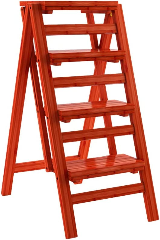 Escalera de Madera de bambú de 4 Pasos para el Taburete de Paso Plegable Escalera de Interior Silla de Madera Escaleras de Cocina para Adultos, Estante de Flores portátil/Banco de Zapatos/Estante: Amazon.es: