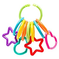 Baby Toy Links - 100% Secure - Designed to Close so Toys Stay Attached. Fun Shapes and Lots of Links in Bright Colors to Attach to Strollers, Car Seats and High Chairs