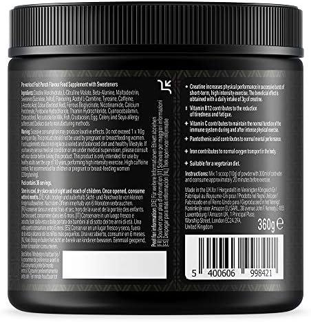 Marca Amazon Amfit Nutrition - PRE-ENTRENO - Sabor a fruta 360 g, 36 porciones