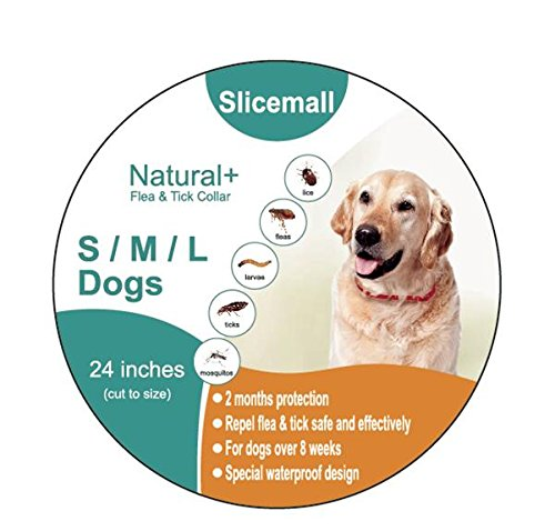Slicemall Dog Flea Tick Collar, Natural Essential Oil Flea Treatment Tick Prevention For Small Large Dogs (60 Days 24 Inches) (Dog)
