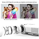 Projector, TENKER Q5 Mini Projector 1500 Lumens LED Portable Movie Projector Support 1080P HDMI USB TF VGA AV, Multimedia Home Theater LCD Video Projector, White
