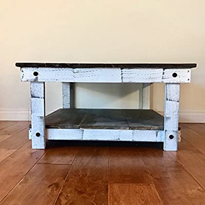 Rustic Handcrafted Reclaimed Square Coffee Table - Self Assembly - Natural & White - 36x36x18