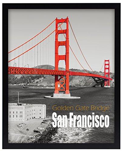 Frametory, 16x20 Pre-Assembled Black Poster Frame - Golden G