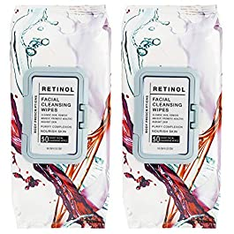 Body Prescriptions 2 Pack (50 Count Each) Retinol Facial Cleansing and Gentle Make Up Remover Wipes