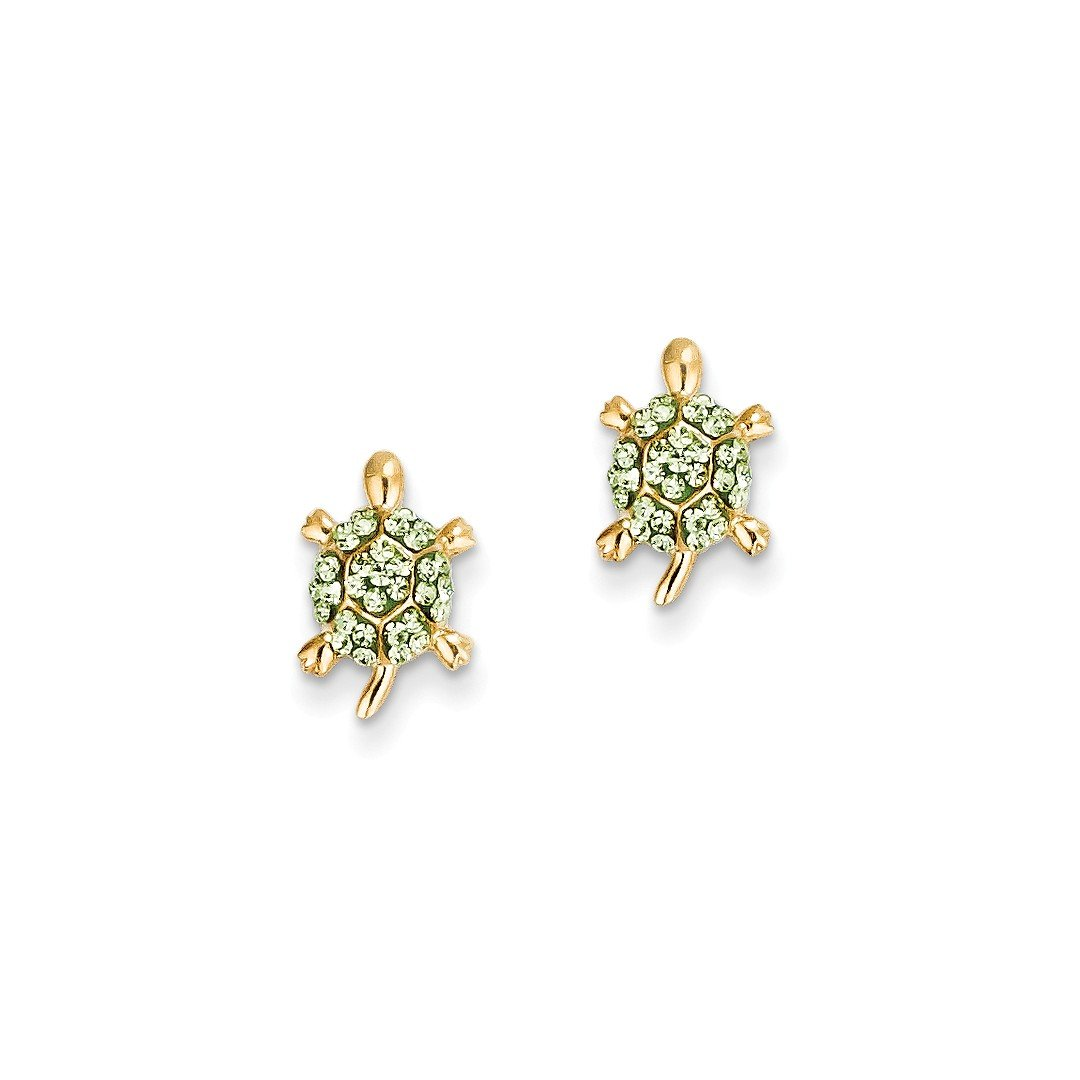 ICE CARATS 14k Yellow Gold Green Crystal Turtle Post Stud Ball Button Earrings Animal Reptile Fine Jewelry Gift Set For Women Heart