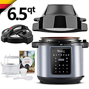 MICHELANGELO 6 QT Pressure Cooker Air Fryer Combo, All-in-1 Pressure Cooker with Air Fryer - Two Detachable Lids for… 10