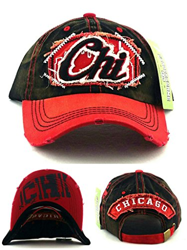 Chicago New Leader Women Ladies Vintage Blackhawks Colors Black Red Era Hat Cap ()