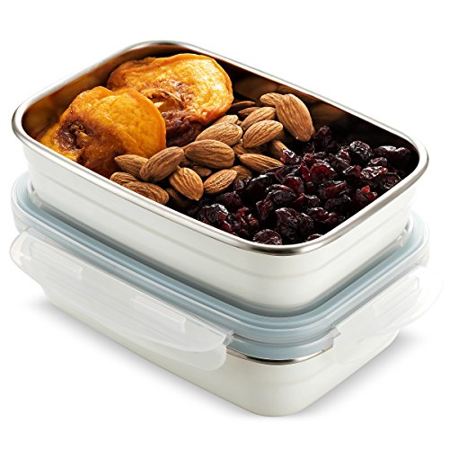 Komax Stenkips Stainless Steel Food Storage Lunch Container 18.9oz. (set of 2) - Airtight, Leakproof With Locking Lids - BPA Free Plastic - Freezer and Dishwasher Safe