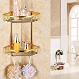 IYUEGO Gold Finish Bathroom Double-deck Brass Material Triangular Storage Basket