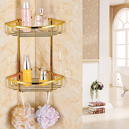Polished Brass Shower Caddy - IYUEGO Gold Finish Bathroom Double-Deck Brass Material Triangular Storage Basket