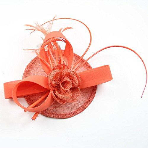 FeiYu Crafts Feather Fascinator With Diamond Fascinator Hat (A-Coral) by FeiYu Crafts (Image #2)