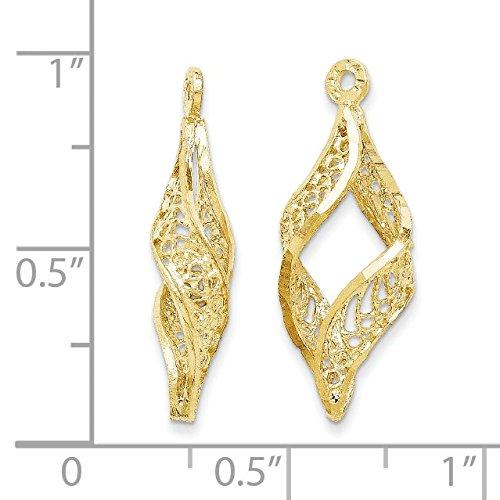 14K Yellow Gold Polished Filigree Swirl Earring Jackets - (0.94 in x 0.31 in) by Jewel Tie