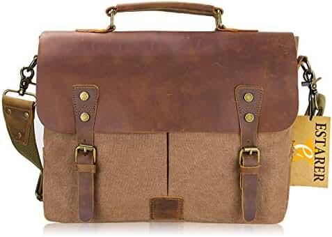 Estarer Mens/Womens Vintage Leather Canvas Laptop Messenger Bag Brown