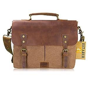 Amazon.com: Estarer Mens/Womens Vintage Leather Canvas Laptop ...