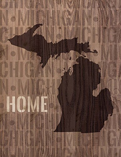 P. Graham Dunn Michigan State Home Shape Design 16 x 12 Pine Wood Lath Wall Art Sign Plaque (Decor Michigan Wall)