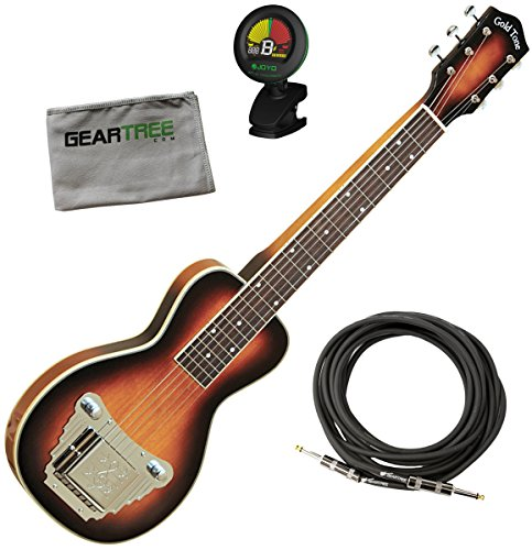 Gold Tone LS-6 Lap Steel Guitar (Six String, Two Tone Tobacco) w/ Geartree Cloth, Stand, and Tuner by Gold Tone