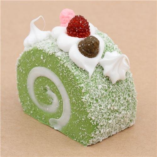 Cute green roll cake with magnet squishy kawaii