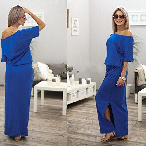 VENMO Mujeres Verano BOHO Maxi Largo Vestido de Fiesta con el Bolsillo de la Noche Azul