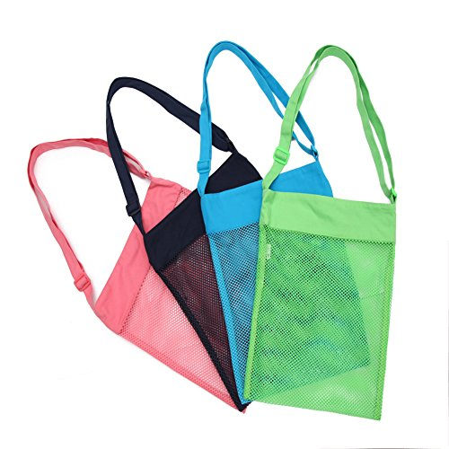 628113308cd1 Galleon - Mesh Beach Bags Adjustable Shoulder Strap - Colorful Shell Bags  For Picking UP Shells 11.4 X 13.7 Inch 4 PC Set