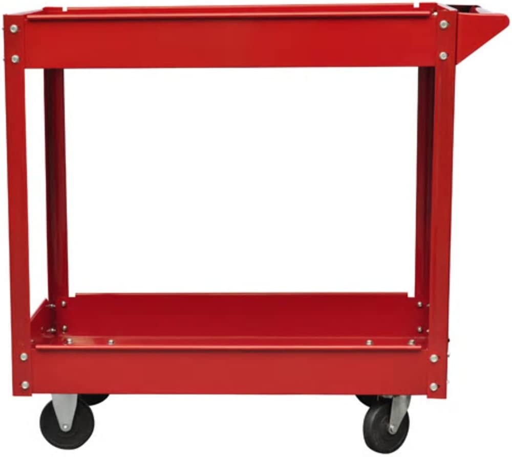Red Festnight Workshop Tool Trolley Cart Utility Cart on Wheels with 2 Shelves 220 lbs