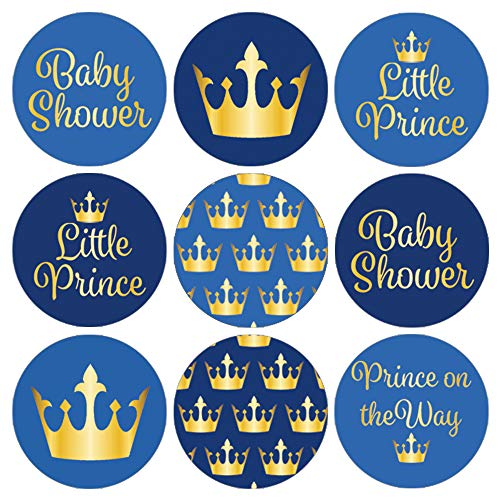 DISTINCTIVS Little Prince Royal Baby Shower Favor Stickers, 180 Count]()