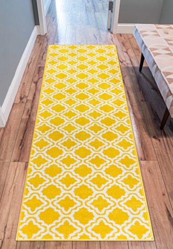 Modern Rug Calipso Yellow 2'X7'3'' Runner Lattice Trellis Accent Area Rug Entry Way Bright Kids Room Kitchn Bedroom Carpet Bathroom Soft Durable Area (Kids Accent Rugs)
