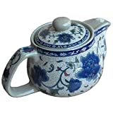 Blue Peony Porcelain Tea Set Ceramic Teapot with Infuser Chinese Kung Fu Tea Pot by I-Mart