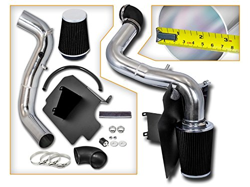 Cold Air Intake System with Heat Shield Kit + Filter Combo BLACK Compatible For 98-03 Chevy S10 / GMC Sonoma I4 2.2L