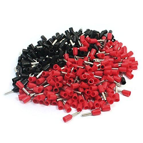 R SODIAL Terminales de alambre 16AWG alambre E1508 Terminales de contera preaislados Negro rojo para 500 pzs