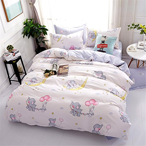 Cartoon Duvet Cover Sets for Girls Boys with Hidden Zipper Closure Ultra Soft Cozy Hypoallergenic Microfiber Pretty Cute Small Elephants Printed Beige Twin Size (3pcs) (Beds For Quilts Cute)